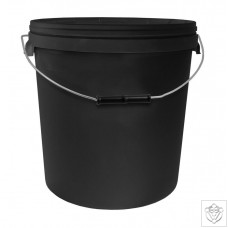 20L Round Black Bucket with Metal Handle & Lid N/A