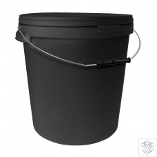 33L Round Black Bucket with Metal Handle & Lid N/A